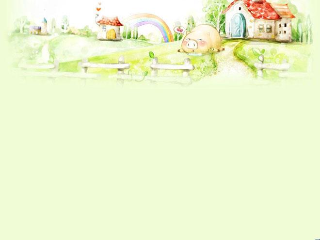 绿色背景图片 栅栏里的可爱小猪powerpoint背景图片