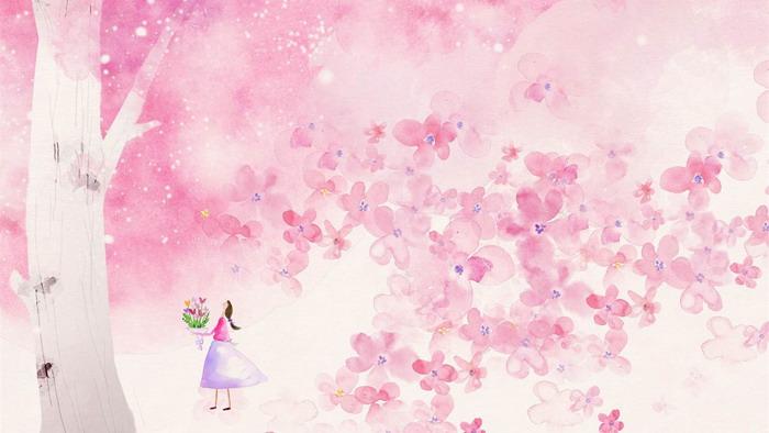 粉色唯美,手绘樱花 两张粉色唯美手绘樱花ppt背景图片
