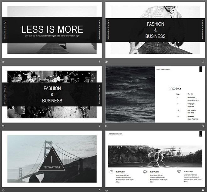 黑白简洁图片排版艺术时尚PPT模板 详细介绍:      这是一套黑白简洁雅致风格的,图片排版艺术设计PPT模板,共22张。第一PPT模板网提供精美艺术范幻灯片模板免费下载; 关键词:黑白风景图片幻灯片背景,动态时尚PPT模板,黑白扁平化PowerPoint图表大全