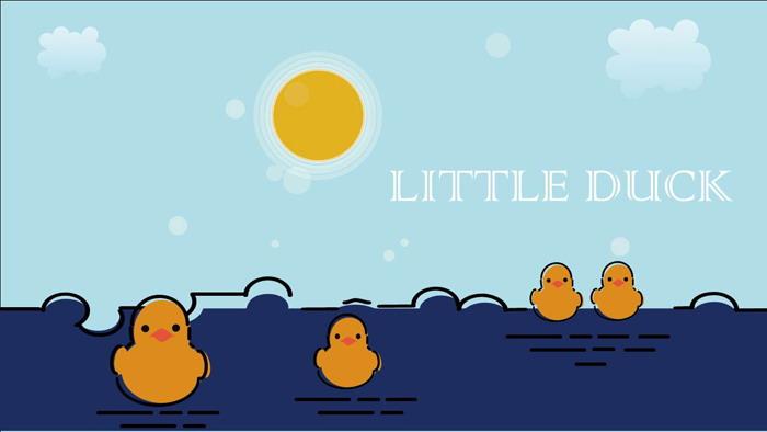 小黄鸭主题ppt模板 可爱mbe风格的卡通小黄鸭ppt模板