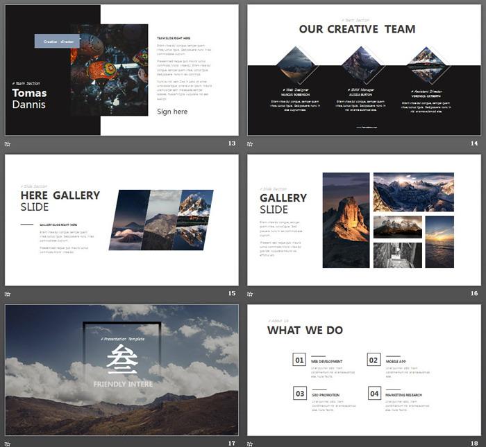 雪山林海ppt背景图片 欧美自然风景图片排版设计ppt模板